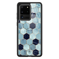 Casimoda Samsung Galaxy S20 Ultra glazen hardcase - Blue cubes