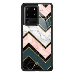 Casimoda Samsung Galaxy S20 Ultra glazen hardcase - Marmer triangles