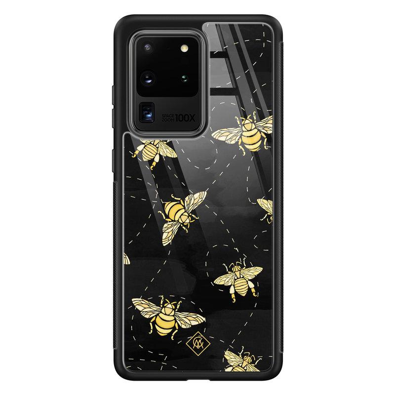 Casimoda Samsung Galaxy S20 Ultra glazen hardcase - Bee yourself