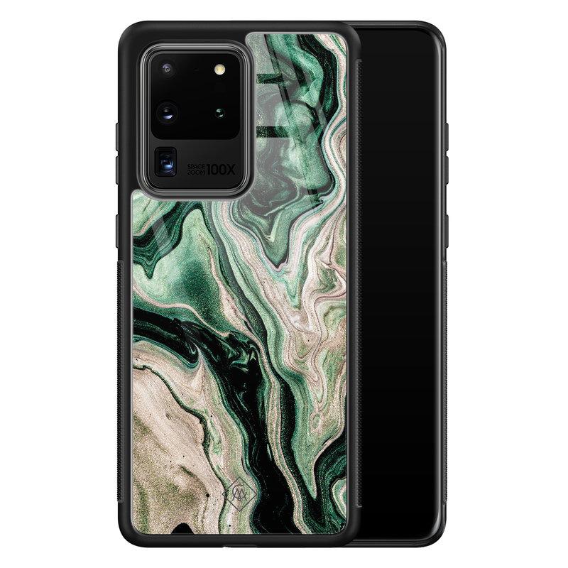Casimoda Samsung Galaxy S20 Ultra glazen hardcase - Green waves