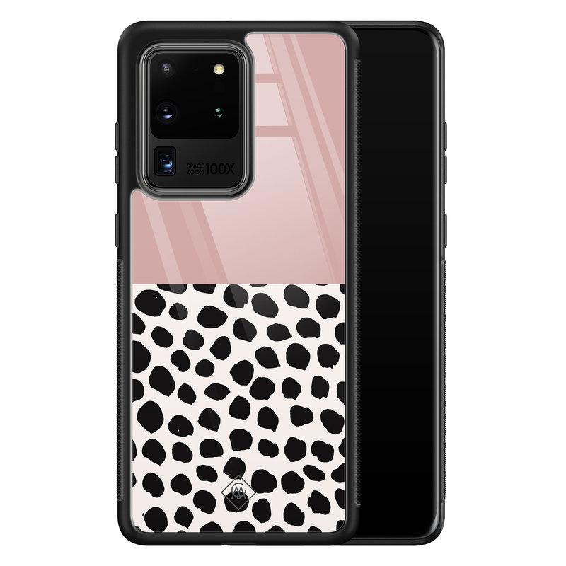 Casimoda Samsung Galaxy S20 Ultra glazen hardcase - Pink dots