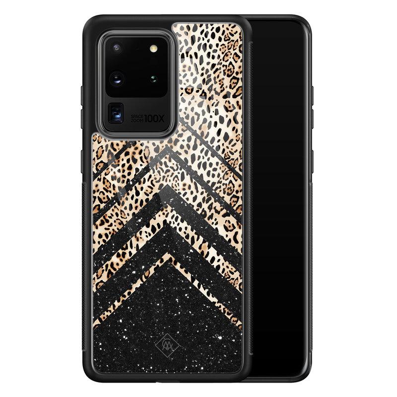 Casimoda Samsung Galaxy S20 Ultra glazen hardcase - Chevron luipaard