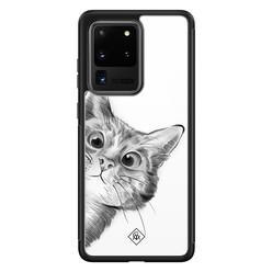 Casimoda Samsung Galaxy S20 Ultra glazen hardcase - Peekaboo