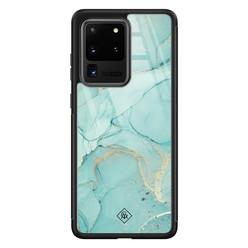 Casimoda Samsung Galaxy S20 Ultra glazen hardcase - Touch of mint