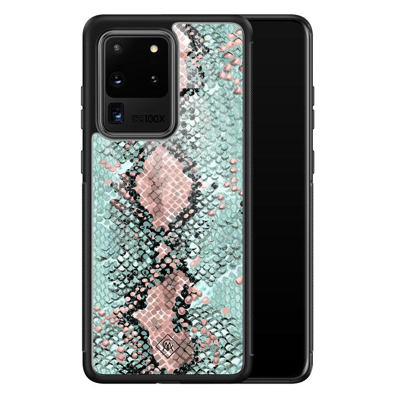 Casimoda Samsung Galaxy S20 Ultra glazen hardcase - Baby snake