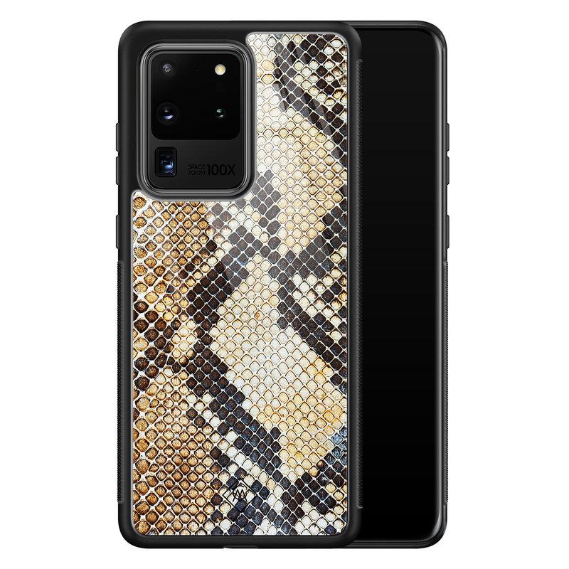 Casimoda Samsung Galaxy S20 Ultra glazen hardcase - Golden snake