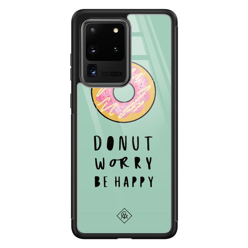 Casimoda Samsung Galaxy S20 Ultra glazen hardcase - Donut worry