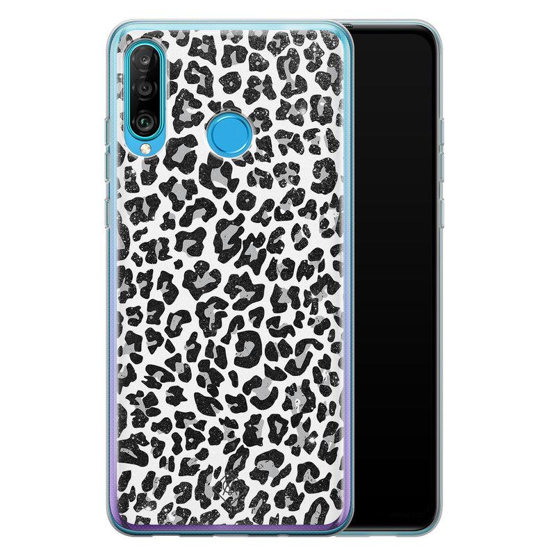Casimoda Huawei P30 Lite siliconen telefoonhoesje - Luipaard grijs