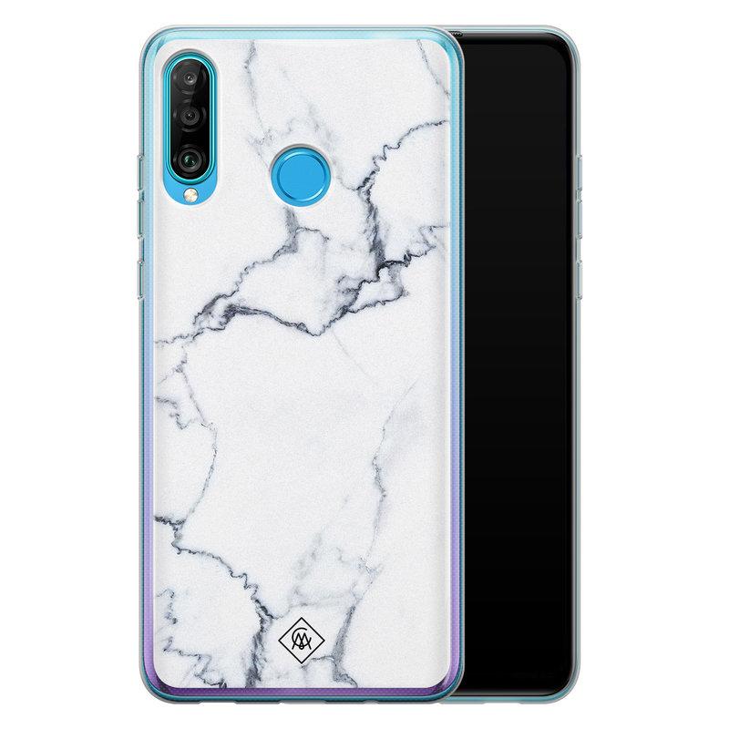 Casimoda Huawei P30 Lite siliconen hoesje - Marmer grijs