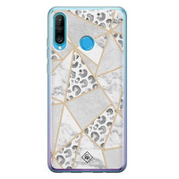 Casimoda Huawei P30 Lite siliconen telefoonhoesje - Stone & leopard print