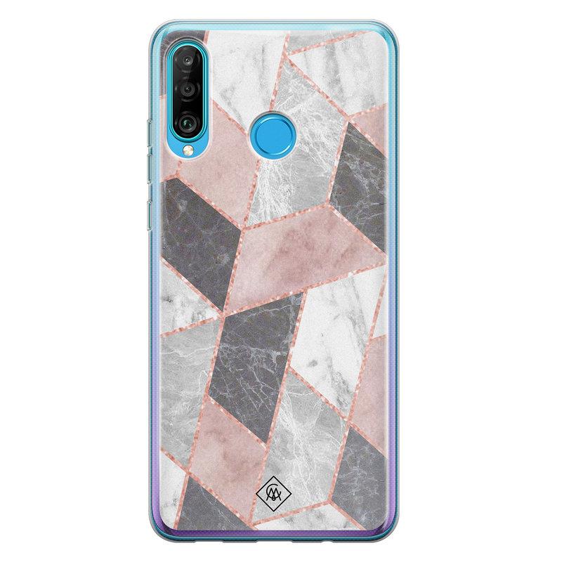 Casimoda Huawei P30 Lite siliconen telefoonhoesje - Stone grid