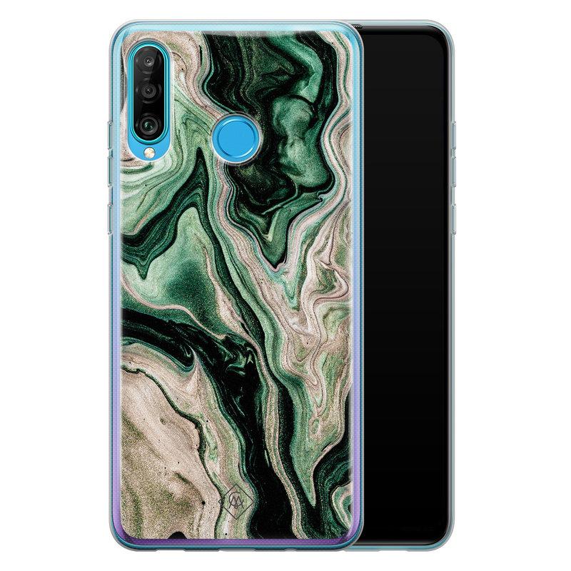 Casimoda Huawei P30 Lite siliconen hoesje - Green waves