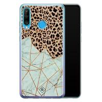 Casimoda Huawei P30 Lite siliconen hoesje - Luipaard marmer mint