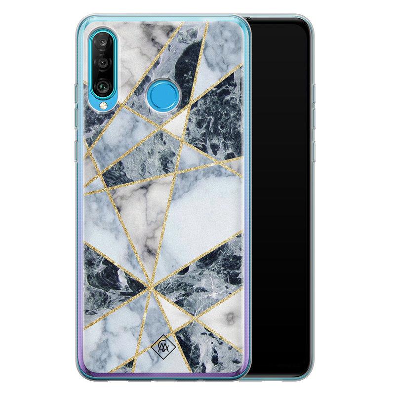 Casimoda Huawei P30 Lite siliconen hoesje - Marmer blauw
