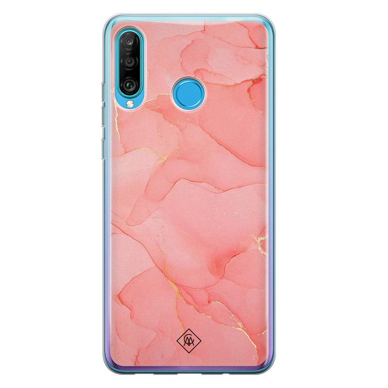 Casimoda Huawei P30 Lite siliconen hoesje - Marmer roze