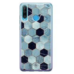 Casimoda Huawei P30 Lite siliconen hoesje - Blue cubes