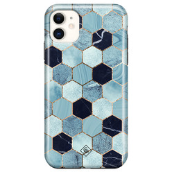 Casimoda iPhone 11 rondom bedrukt hoesje - Blue cubes