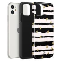 Casimoda iPhone 11 rondom bedrukt hoesje - Hart streepjes