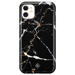Casimoda iPhone 11 rondom bedrukt hoesje - Marmer zwart