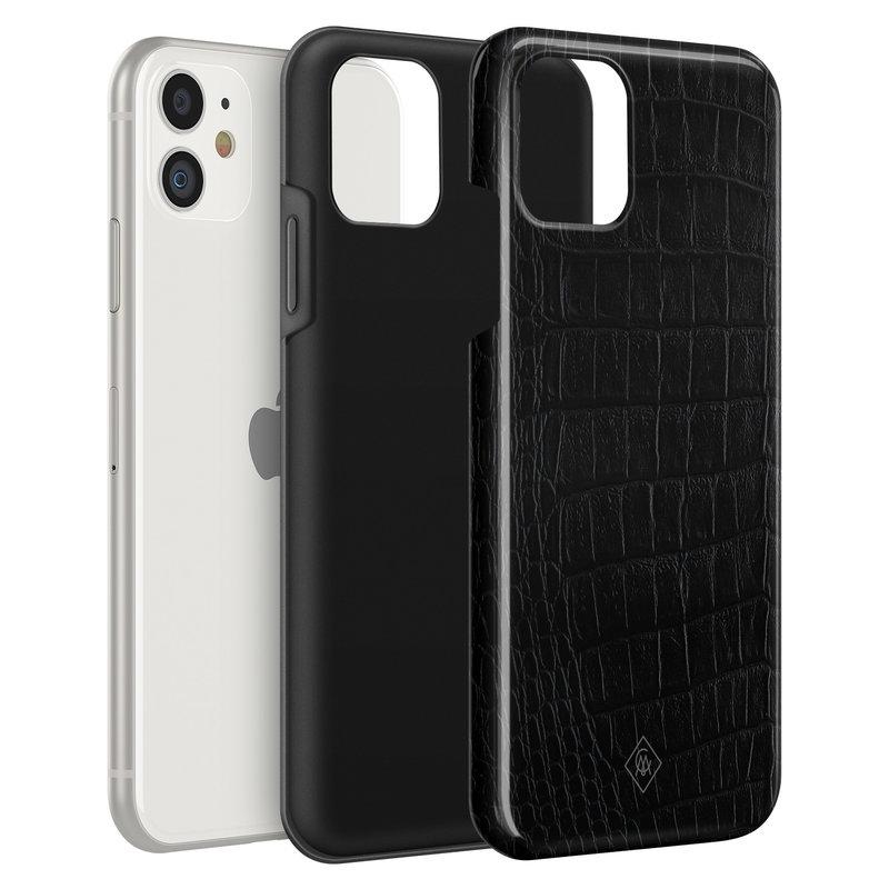 Casimoda iPhone 11 rondom bedrukt hoesje - Black croco