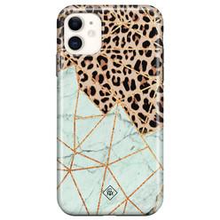 Casimoda iPhone 11 rondom bedrukt hoesje - Luipaard marmer mint