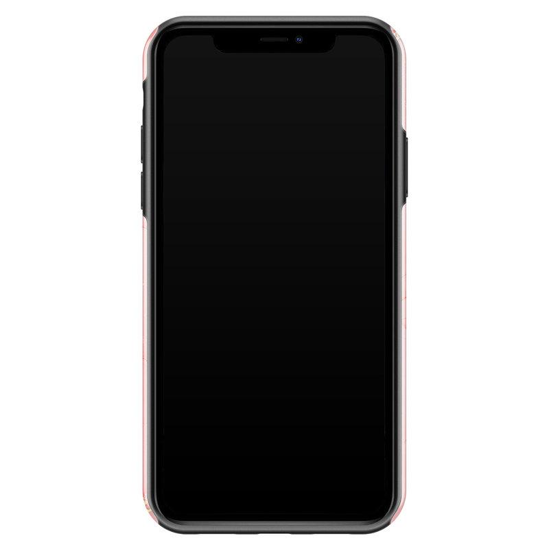 Casimoda iPhone 11 rondom bedrukt hoesje - Marmer roze