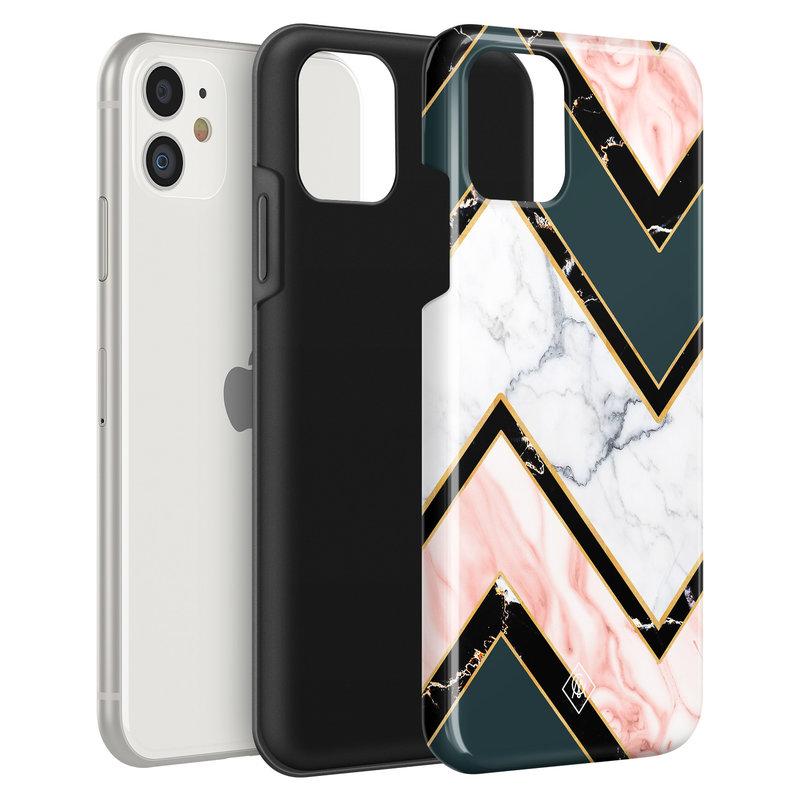 Casimoda iPhone 11 rondom bedrukt hoesje - Marble Zigzag
