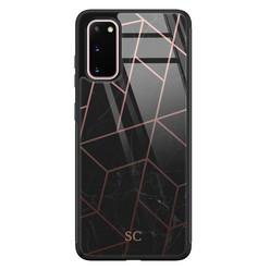 Samsung Galaxy S20 glazen hoesje ontwerpen - Marble grid