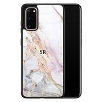 Samsung Galaxy S20 glazen hoesje ontwerpen - Parelmoer marmer