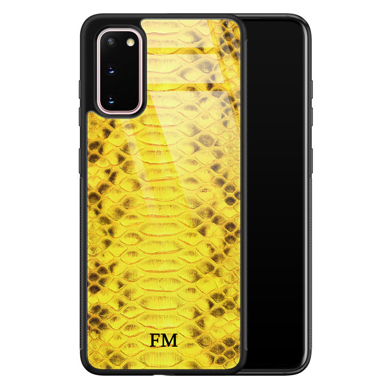Samsung Galaxy S20 glazen hoesje ontwerpen - Croco geel