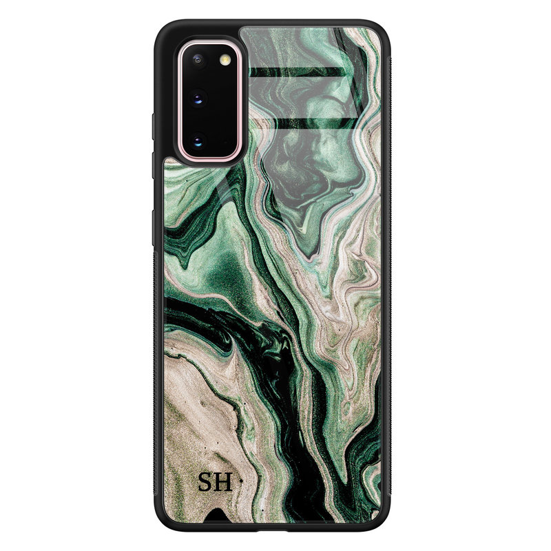 Samsung Galaxy S20 glazen hoesje ontwerpen - Green waves