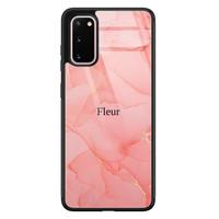 Samsung Galaxy S20 glazen hoesje ontwerpen - Marmer roze