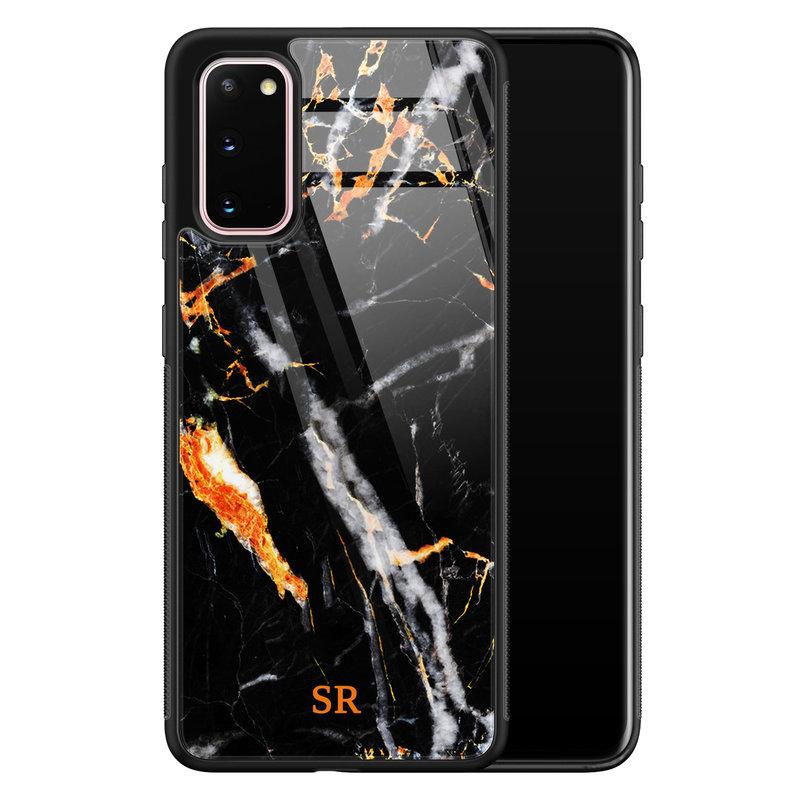 Samsung Galaxy S20 glazen hoesje ontwerpen - Marmer zwart oranje