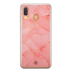 Casimoda Samsung Galaxy A40 siliconen hoesje - Marmer roze