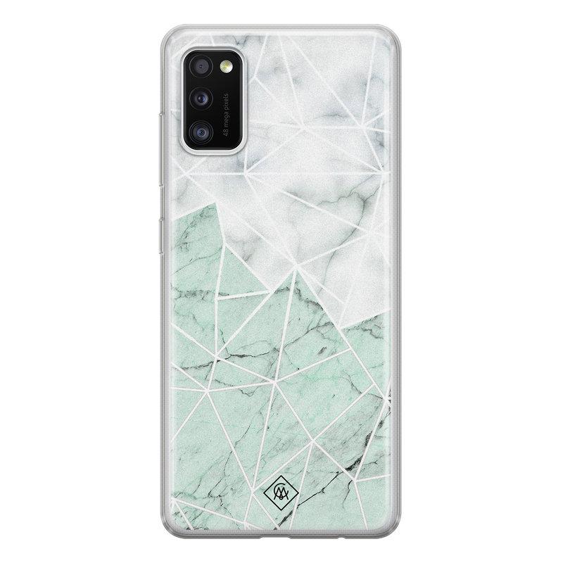 Casimoda Samsung Galaxy A41 siliconen telefoonhoesje - Marmer mint mix