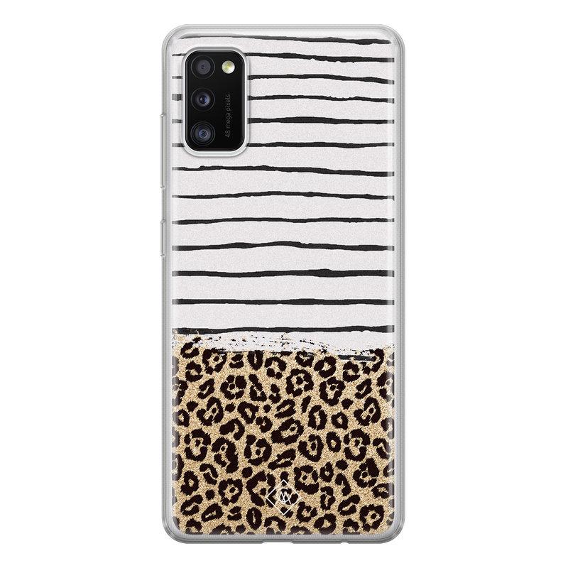 Casimoda Samsung Galaxy A41 siliconen telefoonhoesje - Leopard lines