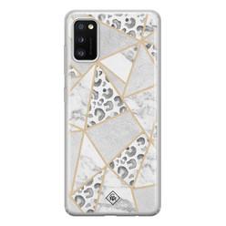Casimoda Samsung Galaxy A41 siliconen hoesje - Stone & leopard print