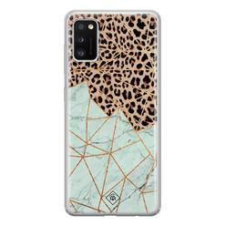 Casimoda Samsung Galaxy A41 siliconen hoesje - Luipaard marmer mint