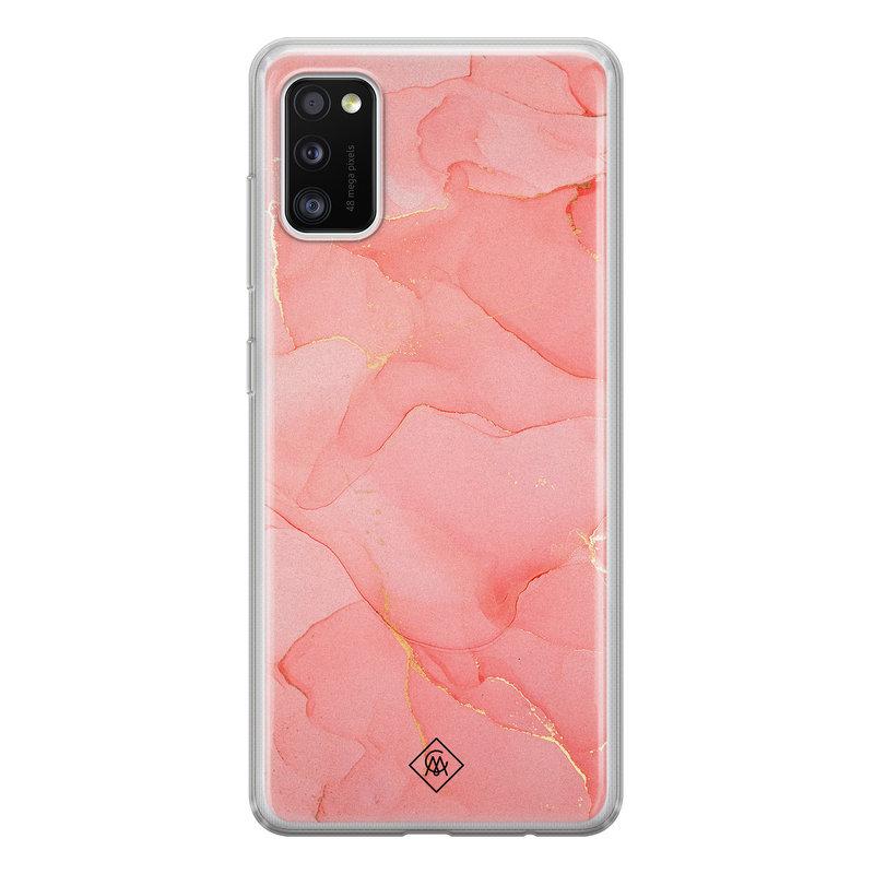 Casimoda Samsung Galaxy A41 siliconen hoesje - Marmer roze