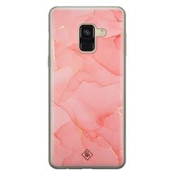 Casimoda Samsung Galaxy A8 (2018) siliconen hoesje - Marmer roze