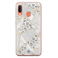 Casimoda Samsung Galaxy A20e siliconen hoesje - Stone & leopard print