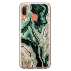 Casimoda Samsung Galaxy A20e siliconen hoesje - Green waves