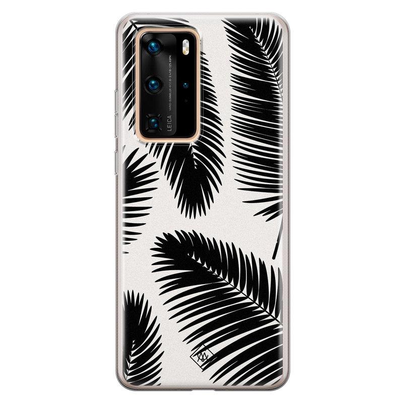 Casimoda Huawei P40 Pro siliconen telefoonhoesje - Palm leaves silhouette