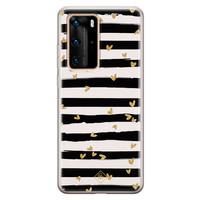 Casimoda Huawei P40 Pro siliconen telefoonhoesje - Hart streepjes