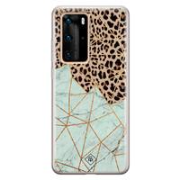 Casimoda Huawei P40 Pro siliconen hoesje - Luipaard marmer mint