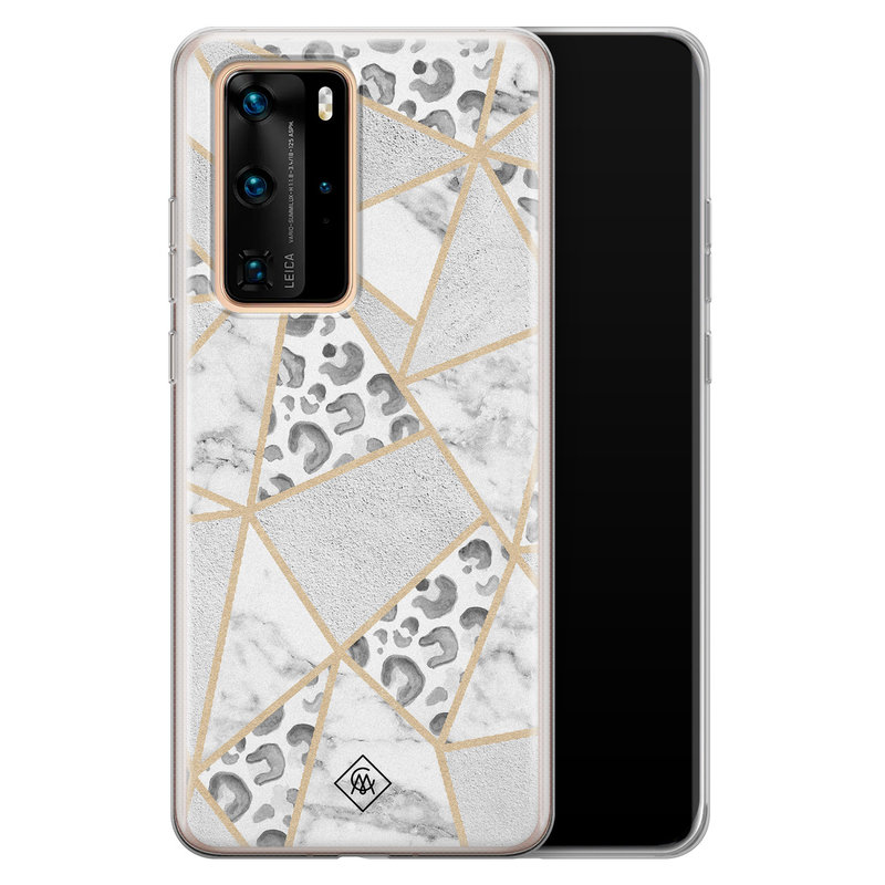 Casimoda Huawei P40 Pro siliconen telefoonhoesje - Stone & leopard print