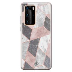 Casimoda Huawei P40 Pro siliconen hoesje - Stone grid