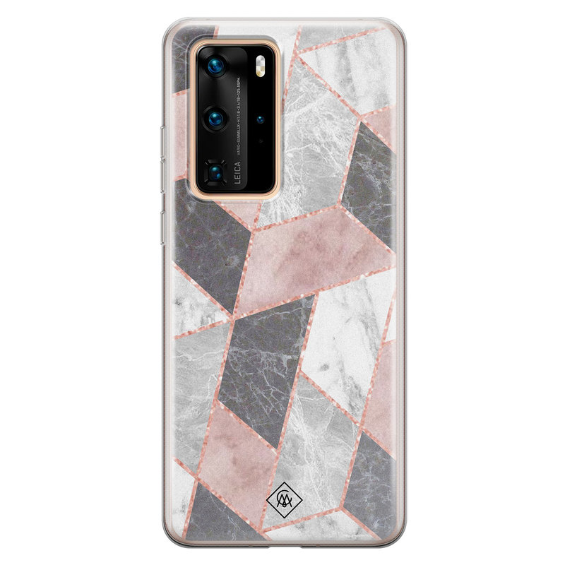 Casimoda Huawei P40 Pro siliconen telefoonhoesje - Stone grid