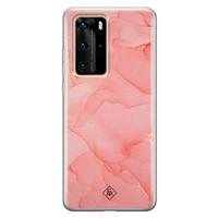 Casimoda Huawei P40 Pro siliconen hoesje - Marmer roze