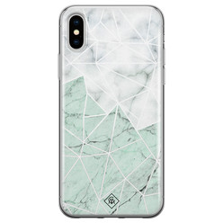 Casimoda iPhone X/XS siliconen hoesje - Marmer mint mix